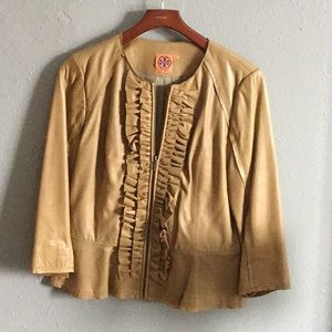 Tory Burch, camel leather jacket